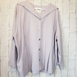 FLAX Lavender Button-down Top Women's Large